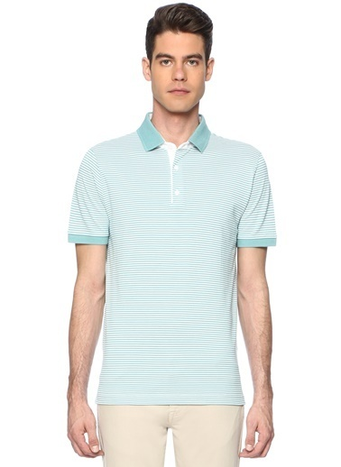 George Hogg Erkek 7003323 Çizgili Slım Fit Tshirt Yeşil